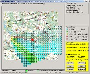 Map view and evaluation of radiative situation monitoring